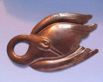 Vintage Brass Large Swan Finding (1)