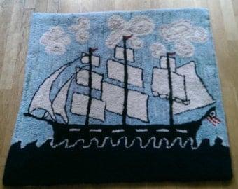 Clipper Ship original design hooked rug