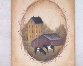 Sm Canvas Painting Primitive Folk Art  Saltbox Farmhouse Barn Cows OFG