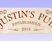 Personalized Custom Carved Hardwood Bar saloon tavern pub Sign or Family Sign