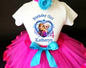 Frozen Anna Elsa Princess Pink Blue 4th Fourth Girl Birthday Tutu Outfit Custom Personalized Name Age Party Shirt Set