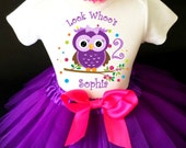 Owl Look WhOO's Whos Who's Hot Pink Purple Rainbow Dots 2nd Second Girl Birthday Tutu Outfit Custom Personalized Name Age Party Shirt Set