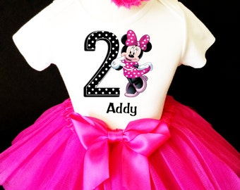 Minnie Mouse Black Hot Pink Polka Dotted Dots 2nd Second Girl Birthday Tutu Outfit Custom Personalized Name Age Party Shirt Set