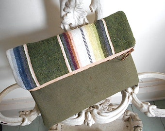 Military canvas, ombre stripe clutch, iPad case, large utility pouch - recycled 60s cotton Mexican serape - eco vintage fabrics