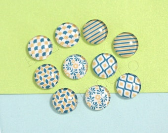 10pcs assorted geometric round glass dome cabochons 12mm (12-0105)