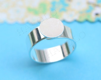 10pcs nickle free silver finish adjustable ring blanks with flat 10mm pad R15B