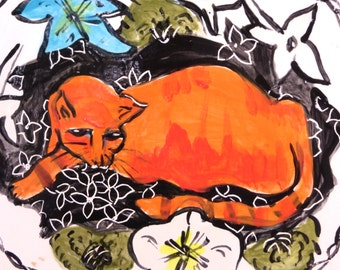 plate ceramic art plate orange cat white orange black large wall plate plate collectibles home wall decor