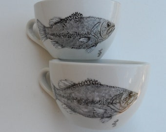 Hand Painted Fish Coffee Cups Set of 2 Hand Painted Fish Mugs