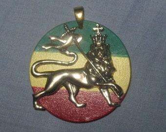 Gold Brass Tone Rasta Flag Reggae Lion Of Judah Rasta Reggae Pendant Necklace