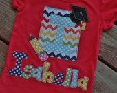 """BACK TO SCHOOL """"Cool School"""" collection Girls chevron/dots graduation hat personalized  initial tee in sizes 6-12-18-24 mth 2-3-4-5-6-7-8-10"""