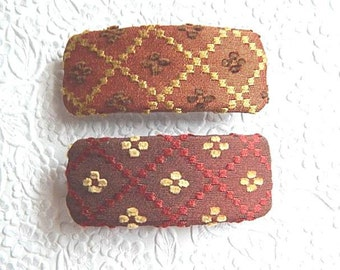 Hair barrette, embroidered barrette, triangle print barrette, fabric barrette, hair accessory, fashion accessory