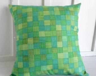 pillow cover cushion cover decorative pillow green checks 20x20