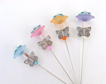 SHOP CLOSING SALE - A Garden Of Stick Pins And Butterflies - Set of 4 - For Crafting, Scrapbooking, Sewing, Embellishing