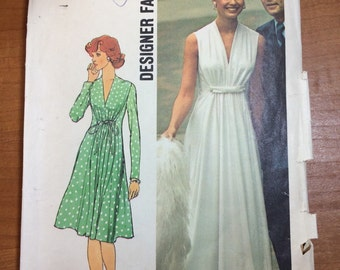 1974 Simplicity 6672 Retro Mod Dress Gown Sewing Pattern Vintage Size 10