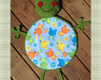 PDF Crochet Pattern- Ribbit the Frog Blanket Buddy - Flannel/Crochet - Easy and Fun to make - Beginners to Intermediate