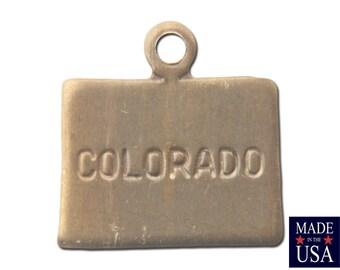 Raw Brass Tiny Colorado State Charm Drops (2) chr202Z