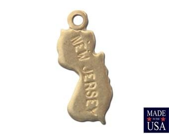 Raw Brass Tiny New Jersey State Charm Drops (2) chr202L