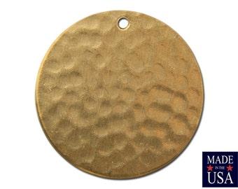 1 Hole Raw Brass Hammered Circle Pendants 23mm (4) mtl297E