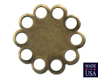 Brass Ox Lace Edge Round Flat Pad Settings 9mm (12) stn030W