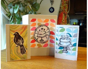 Woodblock print Card Trio
