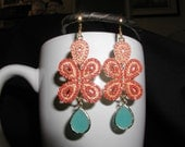 Turquoise and Coral Beaded Dangle Chandelier Earrings