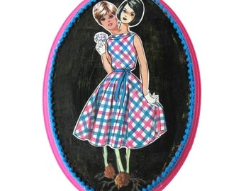 Conjoined Twins Collage on Wood