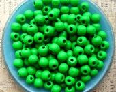Green Wooden Beads - Over 100 - 10mm Medium Green Wood Beads  (WBD0057)