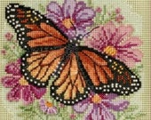 Cross Stitch Kit, Winged Monarch Cross Stitch Kit by Mill Hill, Buttons and Beads Spring Series, Butterfly Pattern WI