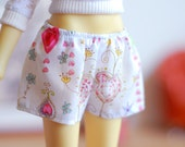 White cotton shorts with hearts and flowers print for Slim MSD BJD dolls