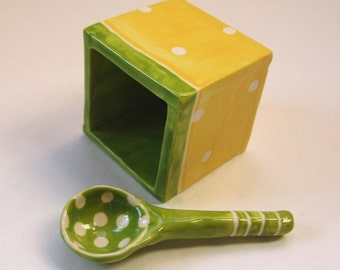 sunny pottery Salt Cellar whimsical yellow & lime green polka-dots w/ handmade ceramic spoon :) happy kitchen decor