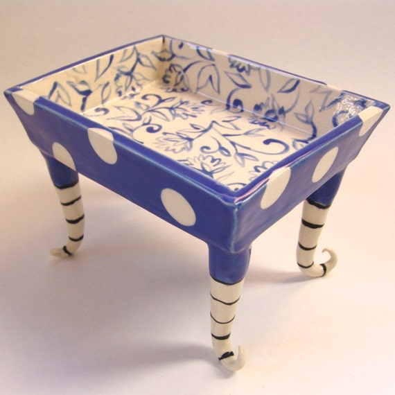 Whimsical Pottery Serving Dish Delft Blue Hand Painted Floral