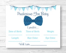 Bow Tie Baby Predictions Cards / Baby Shower Game / Little Man Baby Shower / Chevron Bow Tie / INSTANT DOWNLOAD