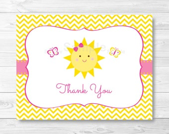 Sunshine Thank You Card / Folded Template / You Are My Sunshine Thank You Card / Chevron Thank You Card / PRINTABLE Instant Download