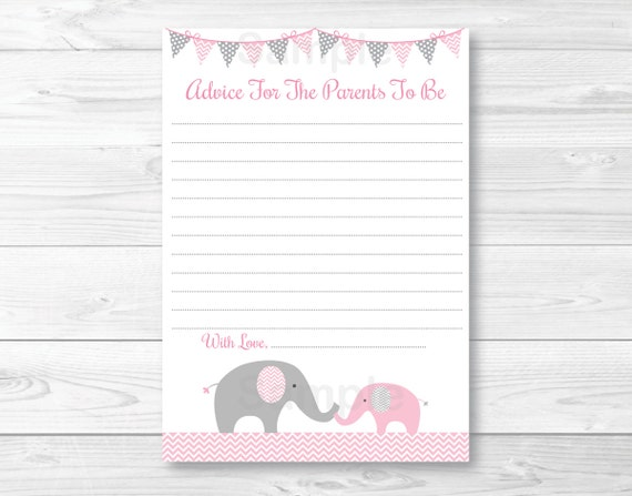 cute pink elephant mommy advice cards / elephant baby shower, Baby shower invitations