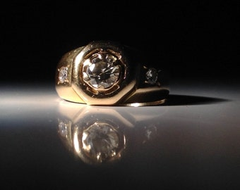1920's 18 KT Gold French Art Deco Diamond Ring - Husband Gift