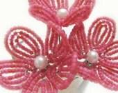 flower hair pins, strawberry yogurt pink flower hair pins - for brides, bridesmaids, flower girls