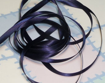 DRESDEN BLUE DouBLe FaCeD SaTiN RiBBoN, Polyester 1/4 inch wide, 5 Yards