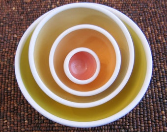 Ceramic Nesting Bowls - Stoneware Pottery Prep Set in Warm Sun Colorway