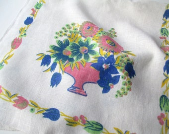 Vintage Tea Towel, Table Runner, Kitchen Towel - Blue Pink