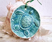 Sea Turtle Ornament Handcrafted Pottery Rustic Ceramic Christmas Ornament in Sea Green