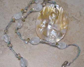 Knotted Fiber Beaded Pendant Necklace, Blister Pearl Shell Focal, Quartz Beads