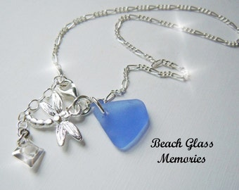 Sterling Silver Anklet -Blue Sea Glass Anklet - Dragonfly Seaglass Anklet - Beach Glass Anklet