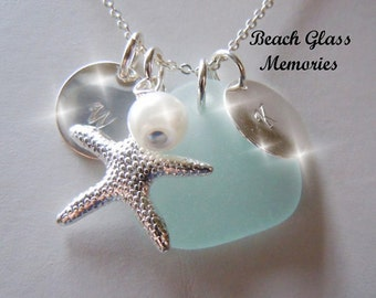 Personalized Necklace Beach Glass Jewelry Aqua Beach Glass Necklace Seaglass Jewelry Sea Glass Charm Necklace Starfish
