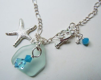 Sea Glass Charm Bracelet,Light Aqua Beach Glass Starfish Jewelry