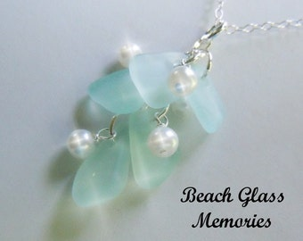 Aqua Sea Glass Necklace - Seaglass Necklace Cluster Beach Glass Jewelry Eco Friendly Jewelry