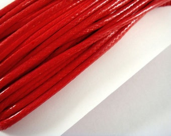 BOGO - 30ft Red Cording Waxed Cotton Korean 2mm - 30 ft - STR9020CD-R30 - Buy 1, Get 1 Free - No coupon required