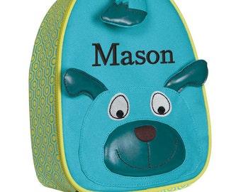 Personalized Lunch Bag Toddler Boy Monogrammed Preschooler Dog Doggie face