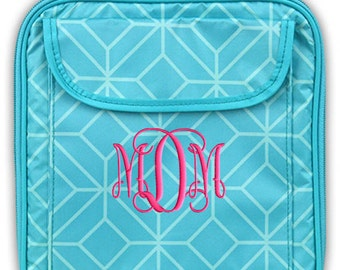 Personalized Lunch Bag Aqua Geo Monogrammed Girls School Snack Box