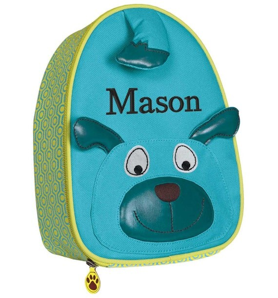 Personalized Lunch Bag Toddler Boy Monogrammed Preschooler Dog Doggie face