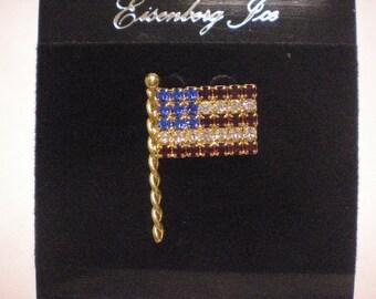 beautiful high quality american plag pin signed eisenburg ice SILVERTONE